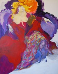 aktmalerei-frau-zeigt-brueste-oelfarbe-leinwand-blonde-haare-rotes-kleid-100x80cm-547