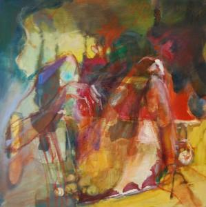 gemaelde-oelfarbe-auf-leinwand-schlankes-damenbein-rot-gelb-quadratisch-50x50cm-522