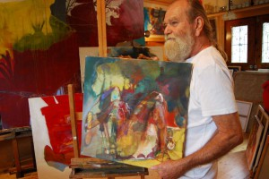 gemaelde-oelfarbe-auf-leinwand-schlankes-damenbein-rot-gelb-quadratisch-50x50cm-groessenansicht-522