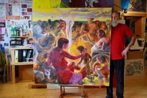 idyllisches-figuratives-oelgemalede-titel-frieden-format-150x150cm-motive-kinder-katze-rollstuhl-lagerfeuer-groessenansicht-332