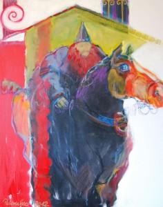 oelgemaelde-großes-dickes-pferd-mit-reiter-roter-bart-95x75cm-56620