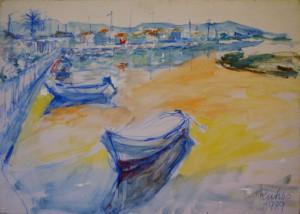 oelgemaelde-landschaftsgemaelde-kroatien-hafen-mit-booten-50x70cm-farben-blau-gelb-268