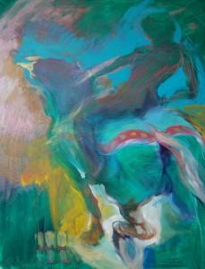 reitende-frau-auf-pferd-oelgemaelde-auf-leinwand-tuerkis-gruen-gelb-90x70cm-titel-ausdauer-556
