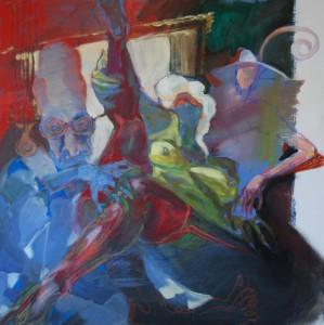 spannende-aktmalerei-oelgemaelde-quadratisch-frau-halb-liegend-mit-roten-strapsen-blau-oelfarbe-75x75cm-76442