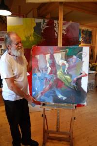 spannende-aktmalerei-oelgemaelde-quadratisch-frau-halb-liegend-mit-roten-strapsen-blau-oelfarbe-75x75cm-groessenansicht-76442
